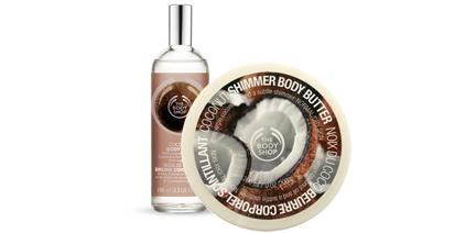 the body shop coconut body butter shimmer body spray ajmakeup