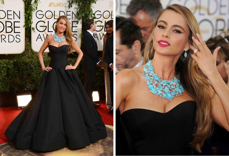 Sofia Vergara Zac Posen Dress Golden Globes 2014