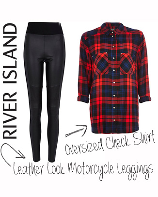 river island oversized check shirt leather look motorcycle leggings