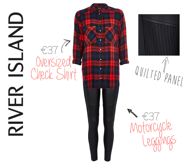 river island leather look motorcycle leggings oversized check shirt2