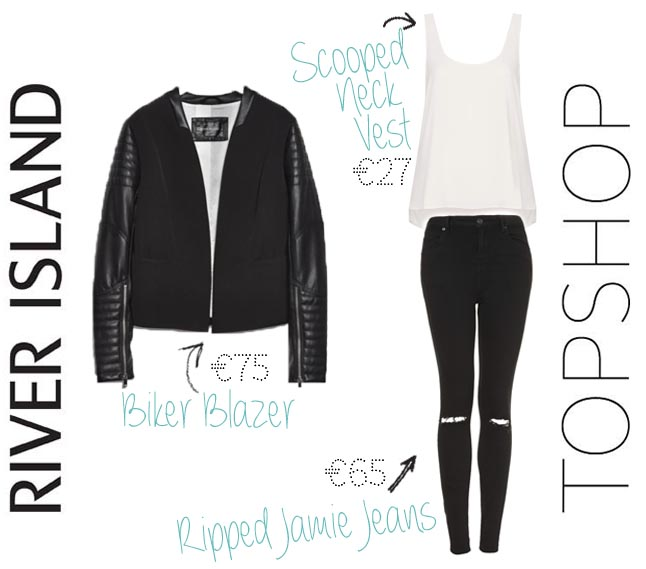 top shop ripped jamie jeans scooped neck vest river island leather look biker blazer2