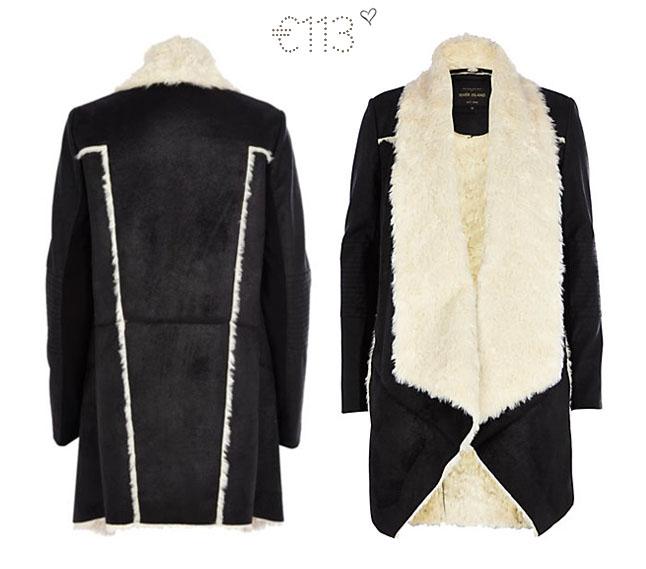 river island waterfall jacket faux fur