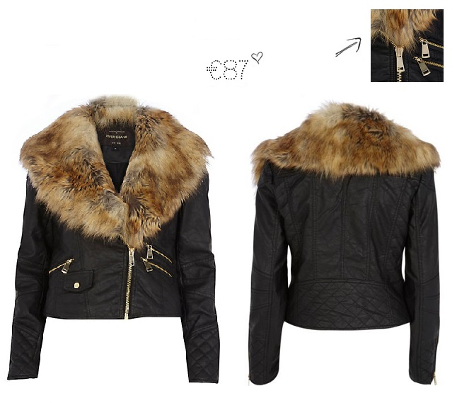 River Island Brown Coat With Fur Collar