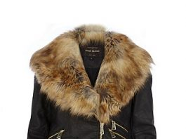 river island faux fur collar biker jacket
