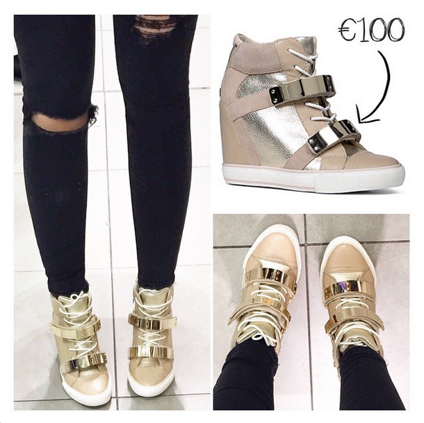 aldo wedge trainer nude gold haerani