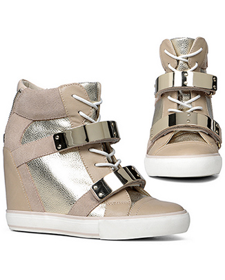 aldo haerani wedge trainers nude gold