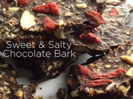 healthy sweet and salty chocolate bark