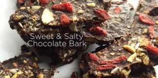 healthy sweet and salty chocolate bark